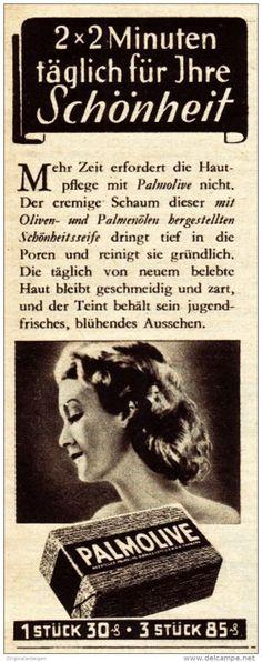 Original-Werbung / Anzeige 1938 - PALMOLIVE SEIFE - ca. 45 x 120 mm