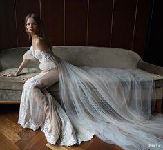 berta bridal fall 2016 illusion off shoulder deep sweetheart sheat wedding dress (16 111) sv long train