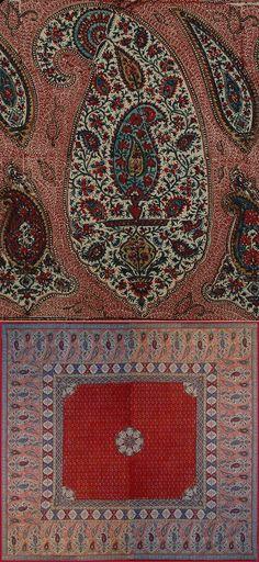 Antique Persian Textile. Antique Persian Isfahan Qalamkar Blocked Print  Qajar Dynasty  1795 -1925 A.D Circa 1850