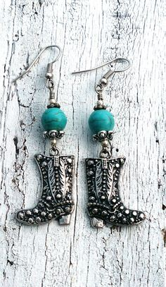 Turquoise Cowboy Boot Earrings Cowgirl    by Secret Stash Boutique on Etsy  www.etsy.com/shop/secretstashboutique