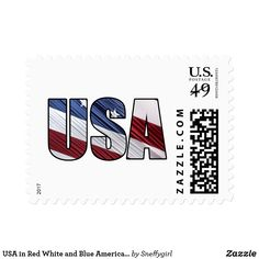 USA in Red White and Blue American Patriotic Flag Postage #zazzle #usa #america #american #patriotic #usps #stamps #postage #flag #sneffygirl #shelleyneffphotography #sold #sale