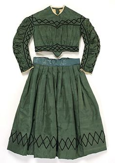 1863-1865 silk and cotton child's dress, American