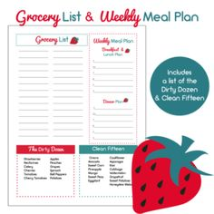 Grocery List with Dirty Dozen Meal Planner