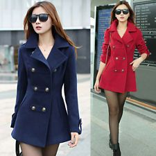 2015 De Invierno Para Mujer Diseñador Slim Cruzado Lana Gabardina chaqueta Outwear