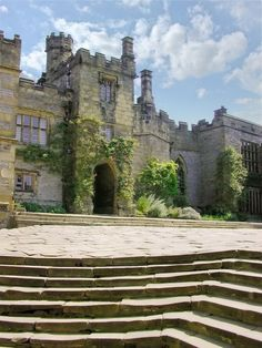 Haddon Hall, Bakewell Derbyshire, England.  Haddon Hall has been Thornfield Hall in three different adaptations of Jane Eyre, and was also Prince Humperdinck's castle in The Princess Bride.