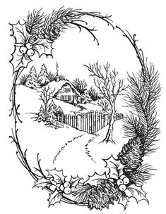 Stampendous - Cling Mounted Rubber Stamp - Christmas Cottage - Nice as an embroidery pattern, too