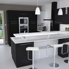 Cuisine noire et blanche au style design avec snack bar : meuble de cuisine noir mat, plan travail blanc mat, meuble rideau, accessoire plan de travail bloc prise USB extractible – www.oskab.com
