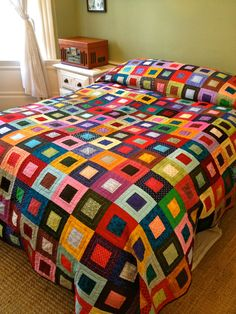 Somewhere Over the Rainbow Quilt by FunkyQuilts on Etsy Baby Girl Quilts, Girls Quilts, Jellyroll Quilts, Scrappy Quilts, Patch Quilt, Quilt Blocks, Quilting Projects, Quilting Designs, Rainbow Quilt