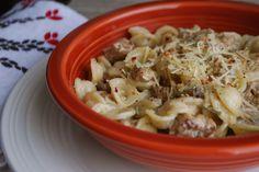 Orecchiette alla Norcina (pasta in a sausage, herb, and mushroom cream sauce)