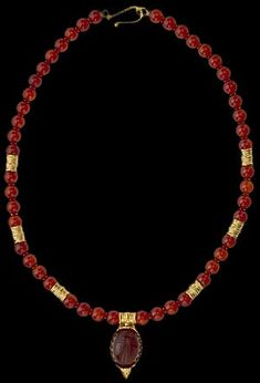 Carnelian Bead Necklace with Scarab Pendant