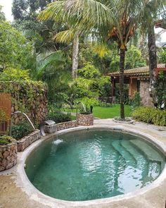 Jardim com piscina: 45 ideias e inspirações Backyard Pool Designs, Small Backyard Pools, Small Pools, Swimming Pools Backyard, Swimming Pool Designs, Backyard Patio, Backyard Landscaping, Kleiner Pool Design, Small Pool Design