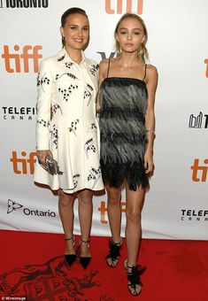 Press rounds: Natalie Portman (left) and Lily-Rose Depp stepped out in Canada…