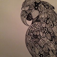 Finished my parrot doodle. I now have carpal tunnel but alas it turned out pretty well.