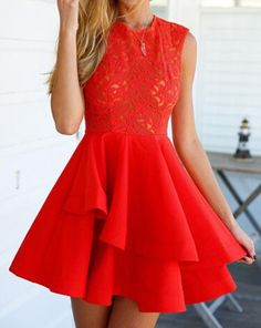 Red Plain Lace Hollow-out Zipper Double-deck Mini Flax Blend Dress