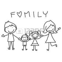 disegno a mano cartone animato della famiglia felice vita felice Archivio Fotografico