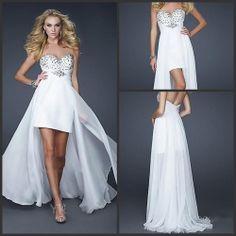 2014 New Arrival Sweetheart Beaded Sleeveless Chiffon A-Line Long White Prom Dress Short Front Long Back