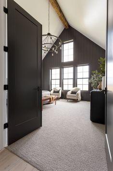 Master Bedroom Interior, Farmhouse Master Bedroom, Home Bedroom, Black Master Bedroom, Bedroom Doors, Modern Farmhouse Interiors, White Interiors, Interior Design Farmhouse, Modern Rustic Homes