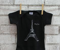 French Baby One Piece Eiffel Tower Infant by CausticThreads, $18.00 Paris Baby Shower, Baby Bodysuit, Baby Onesie, French Baby, Ink Color, Creepers, Gender Neutral, Cute Babies, Hot Pink