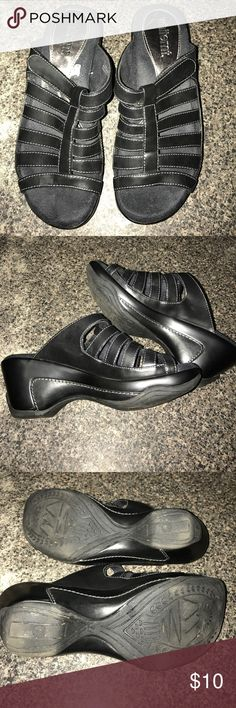 Black wedge heels Black wedge heels with thick foam support whitemt Shoes