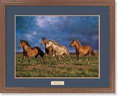 "Racing the Sun"""" Horses Framed Wildlife Art Print"