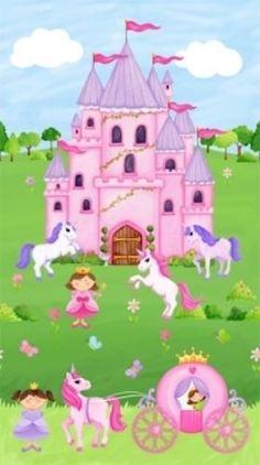 Little-Princess-Princesas-Unicornios-Castillos-Mariposas-Panel-De-Tela