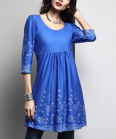 Take a look at this Blue Floral Empire-Waist Tunic today!