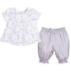 Lili Gaufrette Girls Floral Blouse & Grey Trousers 2 Piece Set at Childrensalon.com