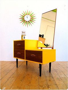 VINTAGE MID CENTURY 1960'S CUSTOMISED DRESSING TABLE + MIRROR - RETRO/ATOMIC
