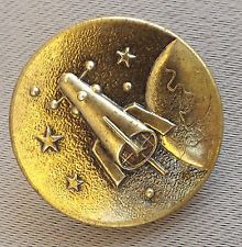 Antique French Rare Space Button Satellite Space Rocket Stars Planet