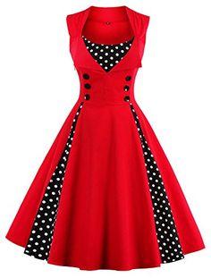 Tina Silvergray 1950s Polka Dots Patchwork Sleeveless Swi... Kleider 50er,  Coole Kleider df03e57185