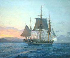 HMS Beagle off Galapagos by Geoff Hunt