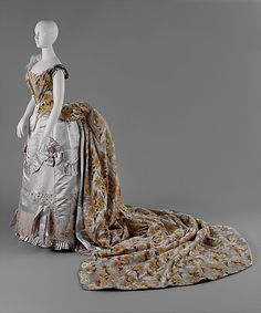 Court Presentation Ensemble, House of Worth, c 1888. French. Silk, metal, feathers, glass. Metropolitan Museum of Art.