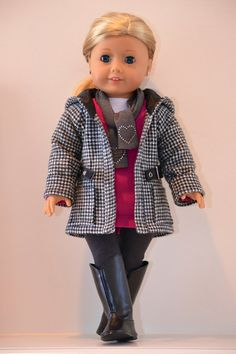 18 inch, American Girl Doll Clothing. Active wear  Ensemble. T-shirt, tunic, leggings, jacket, scarf; based on Liberty Jane patterns