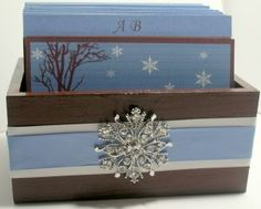 Wedding Guest Box - Chocolate Ice Blue and White Theme (custom colors available)