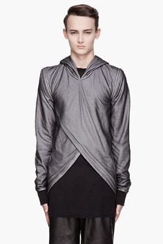Gareth Pugh Black Net Removable Sleeves Triangle Hoodie for men | SSENSE