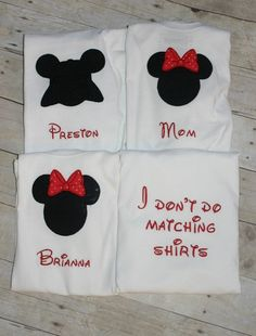 4 Piece Family Set of Custom Made to order Mickey Mouse  or Minnie Mouse  Shirts   GRAND OPENiNG SALE. $70.00, via Etsy.