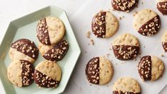 We put a brand-new twist on classic homemade butter cookies, and we're pretty sure you're going to fall truly, madly, deeply in love. Chocolate-dipped toffee butter cookies, where have you been all our lives? Best Christmas Cookies, Holiday Cookies, Christmas Baking, Christmas Recipes, Christmas Goodies, Holiday Baking, Christmas Treats, Cookie Bars, Cookie Dough