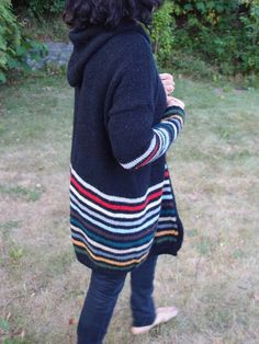 Idea for cardigan using leftover yarns.