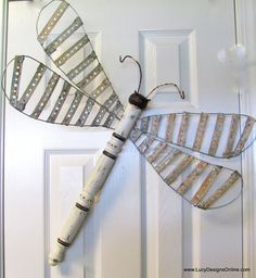 Table Leg Spindle Dragonfly Wall or Garden Art- Aged Metal Strapping Woven Striped Metal Wings, Industrial, Vintage Look