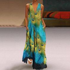 Bohemian V Neck Printed Colour Sleeveless Dress - Sommer Kleider Ideen Summer Holiday Dresses, Vintage Summer Dresses, Boho Summer Dresses, Summer Dresses For Women, Casual Dresses, Summer Maxi, Tienda Fashion, Daily Dress, Hot Dress