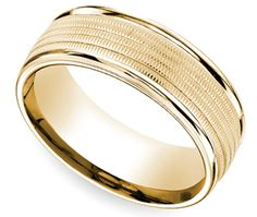 Multi Milgrain Men's Wedding Ring in Yellow Gold