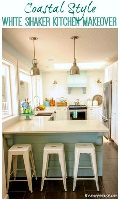 Come on tour this gorgeous coastal style white shaker kitchen makeover with lots of DIY details at thehappyhousie.com