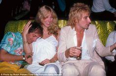 Inside Studio 54: Singer Rod Stewart with Studio 54 owner Steve Rubell (L) and Alana Hamilton (C) at Studio 54