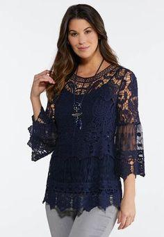 2fd926d18b22c1 Crochet Mesh Pullover Top Tops Cato Fashions