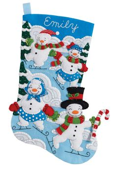 Bucilla 86894 Christmas Stocking Felt Applique Kit, Snowman Family Outing Christmas Stocking Kits, Felt Christmas Stockings, Christmas Minis, Homemade Christmas, Christmas Snowman, Christmas Crafts, Christmas Ornaments, Christmas Ideas, Holiday Ideas