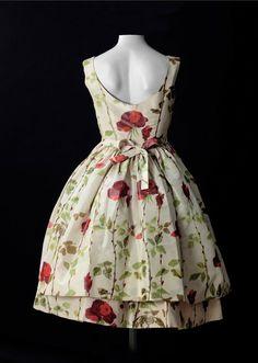 Dress by Balenciaga.. in taffeta with floral motifs, 1958.