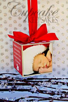 Christmas Modern New Baby Custom Personalized Photo Block Ornament Red Gift via Etsy