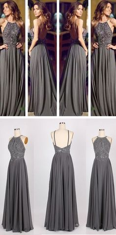 Popular long backless grey prom dress / evening dress.