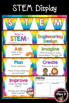 This STEM pack includes everything you need to create a bright and engaging classroom display for STEM and the Engineering Design Process. Included in this pack: 1) Rainbow Pennant Banner for 'STEM' 2) What is STEM? 3) Posters explaining the Engineering Design Process steps 4) STEM Plan Organiser © Tales From Miss D