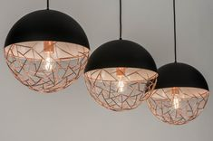 Hanglamp 72994: modern, retro, roodkoper, zwart #0 Demi Sphere, Led Filament, Ceiling Lights, Ceramics, Lighting, Pendant, Interior, Home Decor, Home